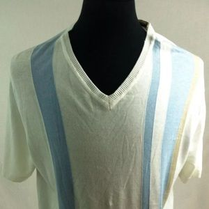 PERRY ELLIS Sweater Vest NWT Large White & blue